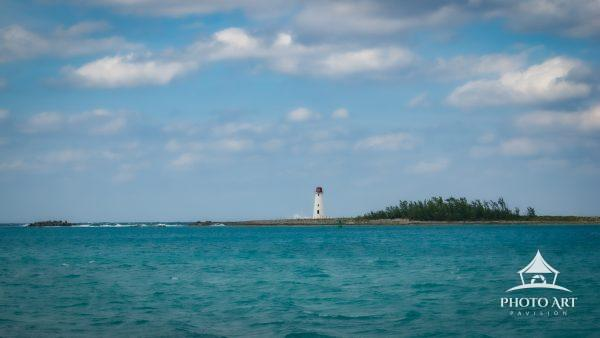 Views from West Bay Street in Nassau, Bahamas. Overlooking the Nassau Harbour Lighthouse on a