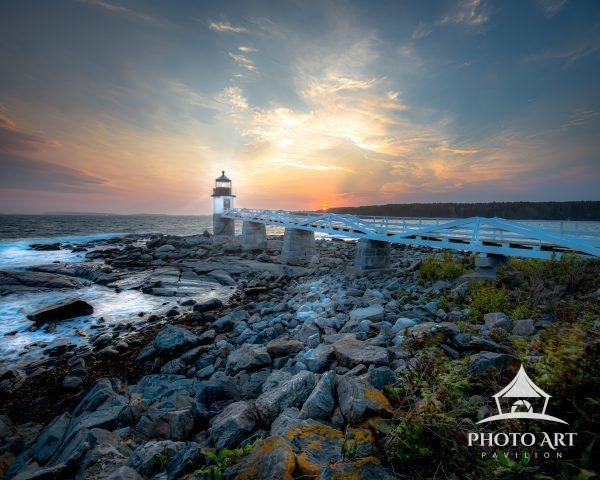 Beautiful Sunset colors over the Marshall Point Lighthouse in Port Clyde Maine
