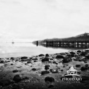 Black and white photo of Port Jefferson Harbor