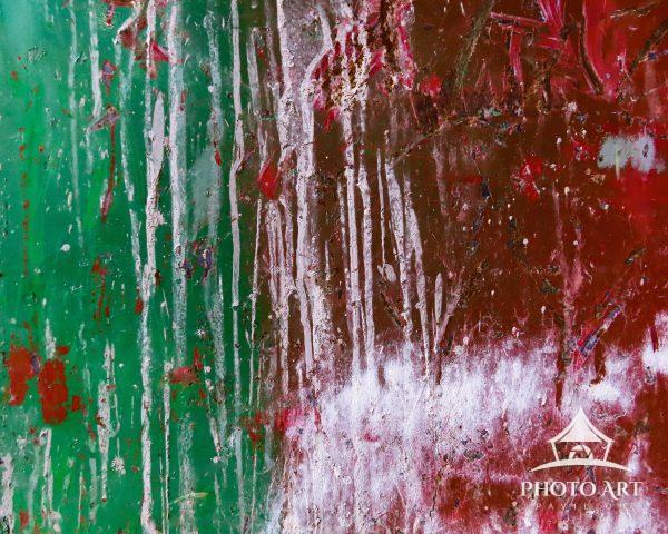 This image was taken of a panel from a metal street bin covered with time-honored layers of paint,