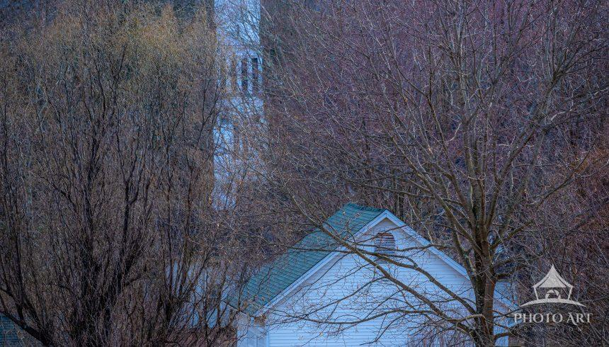 Small New England Church in early Winter.