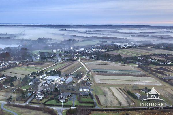 Water Mill Green Thumb Farm in the morning fog