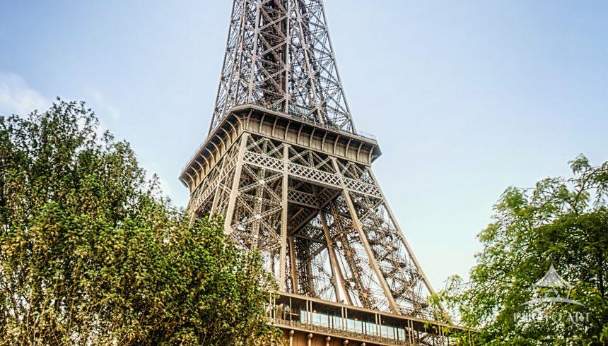 A beautiful view of the Eiffel Tower, Paris, France in June.