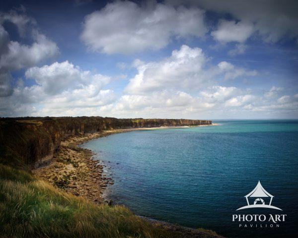 Looking over the English Channel from the famous cliffs of Pointe Du Hoc captured by American forces