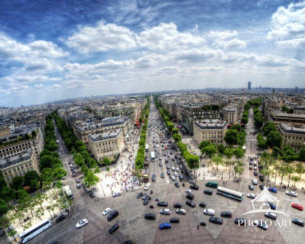 A view of the Champs-Elysees from the Arc De Triomphe, Paris, France.