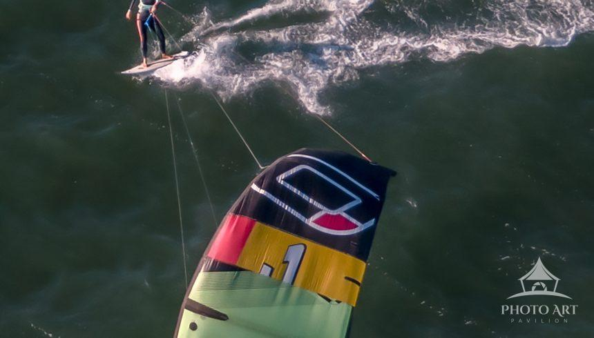Kiteboarder out on Peconic Bay off Long Beach, Southampton, NY
