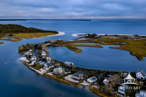 Summer aerial view of Towd Point and North Sea Harbor