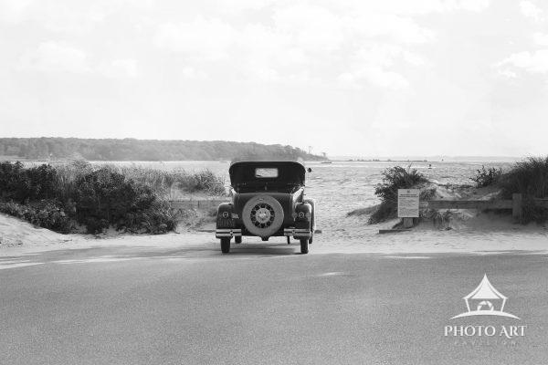 Antique Ford Car at the Beach
