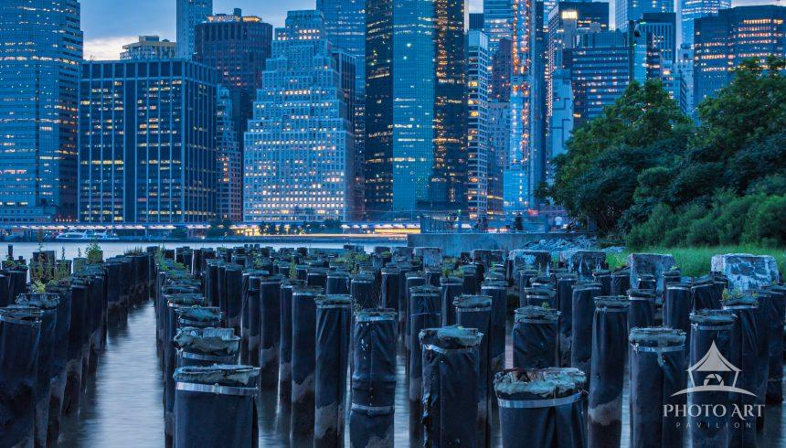 Capturing some shimmering lights from the New York City skyline at blue hour.