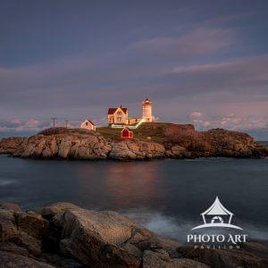 The Cape Neddick Lighthouse on Nubble Island just off Cape Neddick Point, Maine. It is commonly