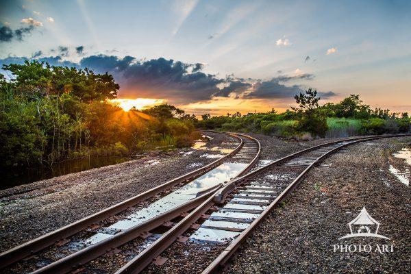 Sunset and train tracks