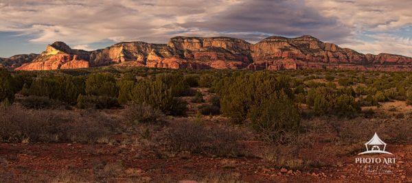 Desert panorama at sunset made outside Sedona, Arizona, USA.
