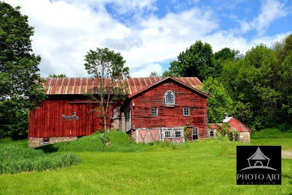 Large Red Barn, Clouds and Blue Skies, Rural setting