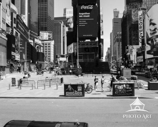 An empty Father Duffy Square during NYC's Summer of COVID