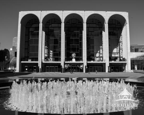 An empty Lincoln Center at the start of NYC's COVID lockdown