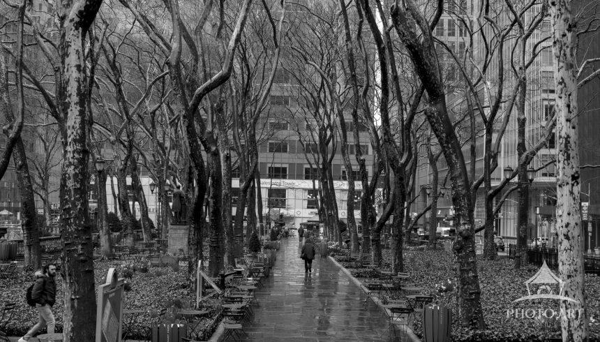 An empty, rainy Bryant Park at the start of NYC's COVID lockdown