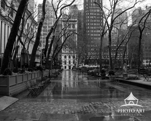 An empty Bryant Park on a rainy start to NYC's COVID lockdown