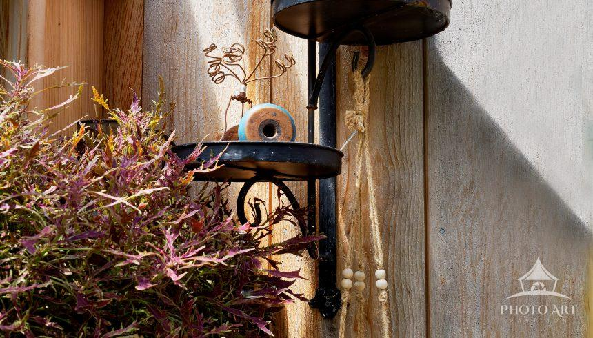 A pleasant still life image of metal candle sconces, shadows, bottles and plants with varying rustic