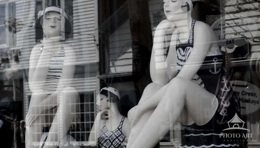 Storefront reflecting in Greenport.