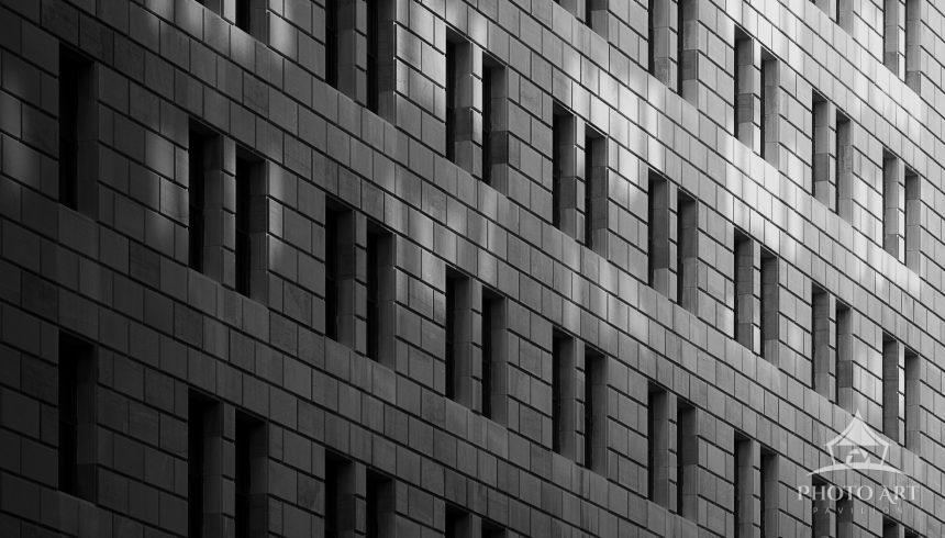 Wall of windows on a building in the Financial District off NYC.