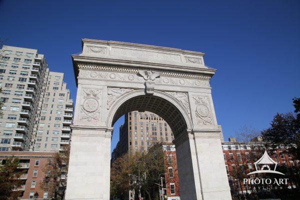 Washington Square Park Arch with blue sky