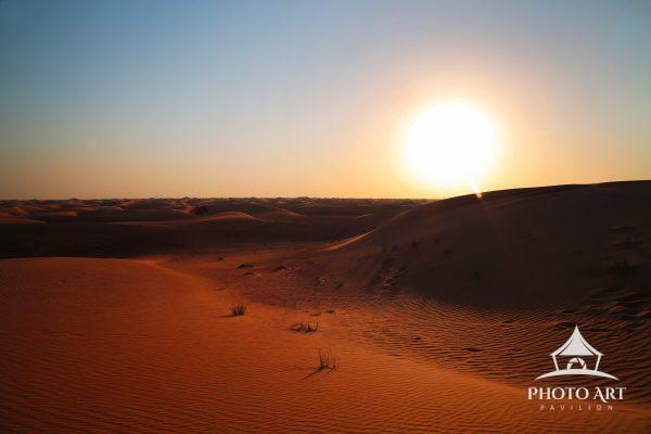 Red sand during sunset near Dubai