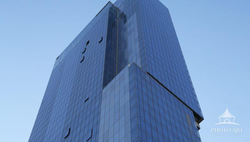 Pretty new blue tower in midtown Manhattan.