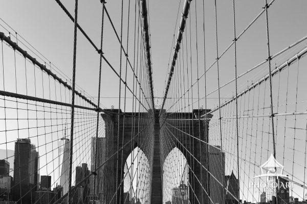 Spider web effect on the Brooklyn Bridge. With the Freedom Tower in the background.