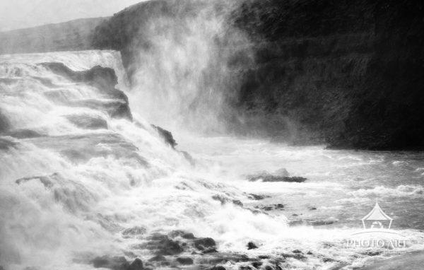 Gullfoss falls on the Golden Circle route of Iceland processed in Black and White.