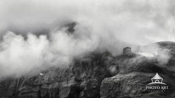 Dramatic clouds over rugged mountains along the Snaefellsnes Peninsula in Iceland, taken from a