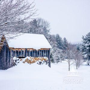 Stocked and ready for the fireplace! This woodshed in Ludlow, Vermont is filled to the brim with