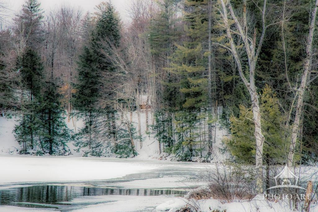 Tucked away along a riverbed, a lone cabin peeks out between the wintry branches.