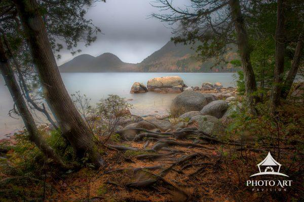 "Rainy and dreary day on Jordan Pond in Acadia National Park. The famous ""Bubbles"" can be seen"