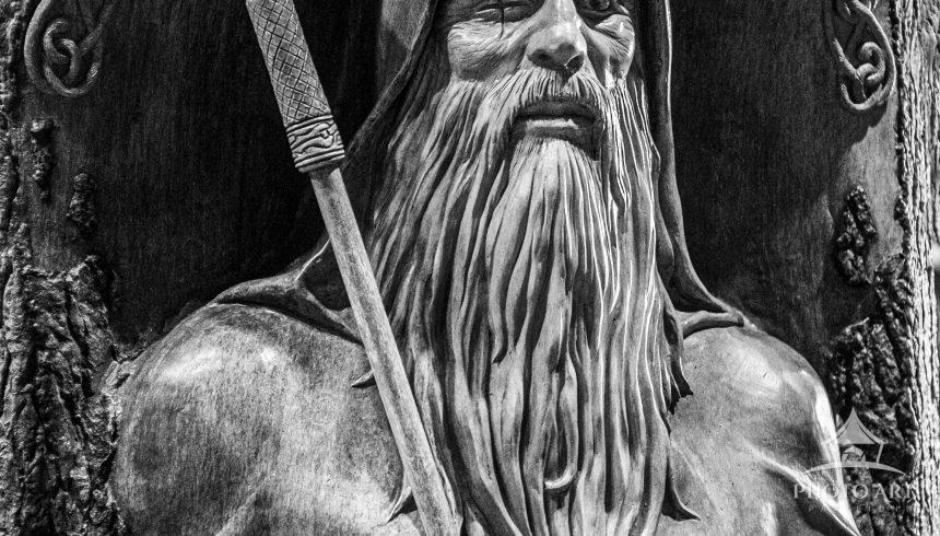 Carving of the Norse God, Odin, seeker of knowledge and truth.