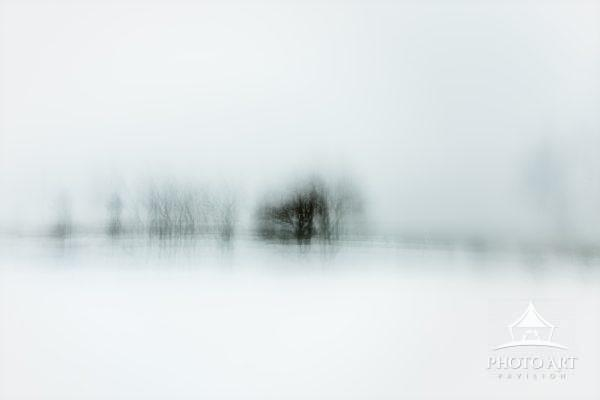 An ethereal abstract image of Old Field Point on a snowy winter morning.