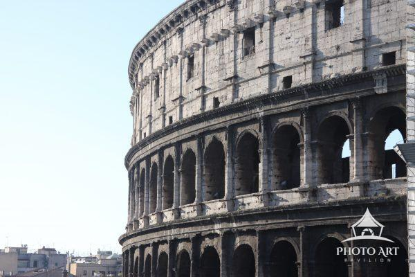 An intact side of the Roman Colosseum.