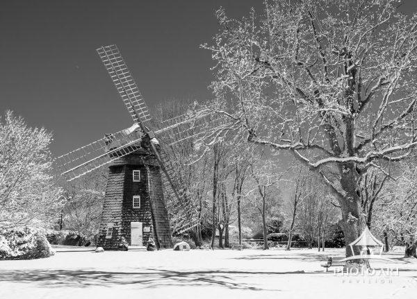 Fresh snow on the Beebe windmill in Bridgehampton NY
