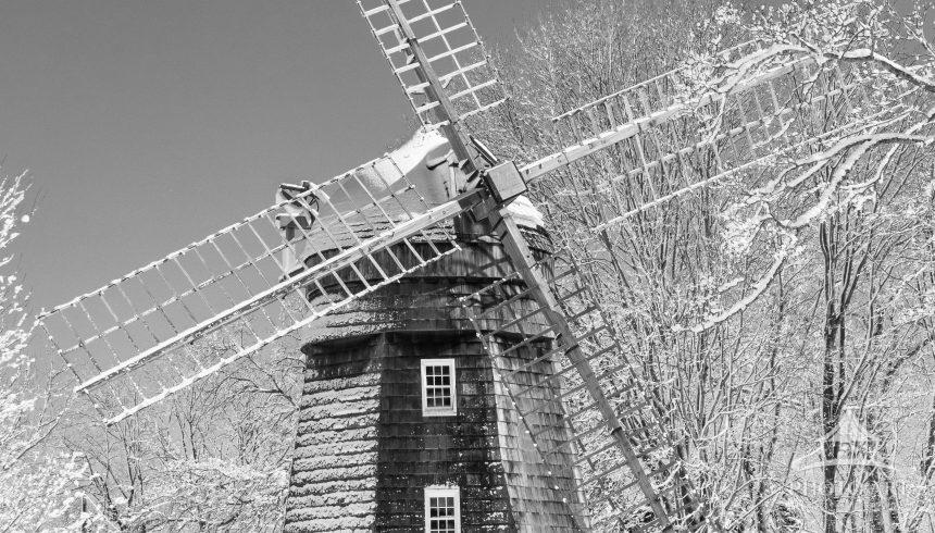 Beebe windmill Bridghampton NY in fresh snow, black and white is all that is necessary.