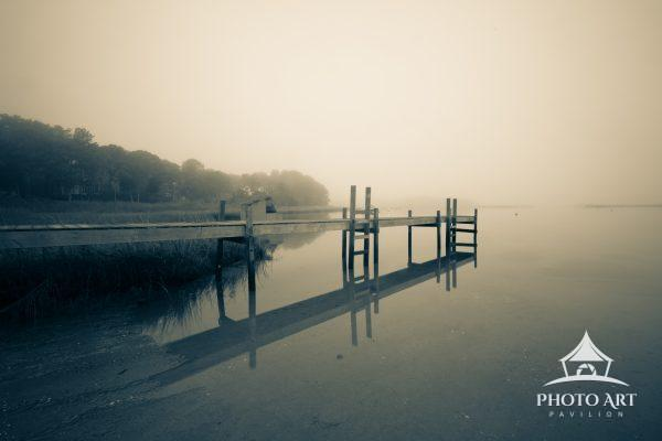 Foggy morning at a boat mooring on Great Peconic Bay