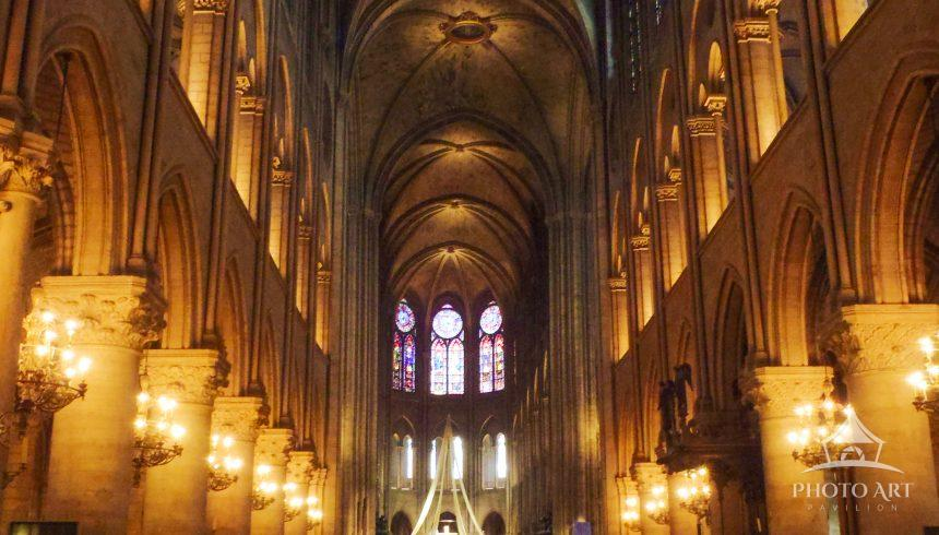 Notre Dame Cathedral Paris France interior looking up with view of ceiling. Before the fire.