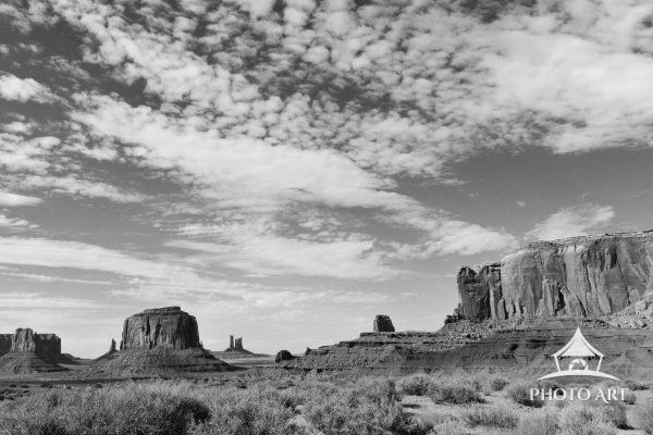 A black & white landscape of the incredible Monument Valley in Utah!