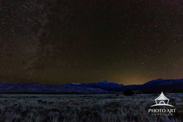 Starry autumn night over Great Sand Dunes National Park in south central Colorado. The dunes are the