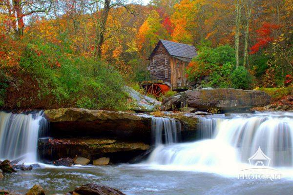 Grist Mill, Water Wheel, Autumn Foliage, Grand prize award winning picture in Country Magazine, a