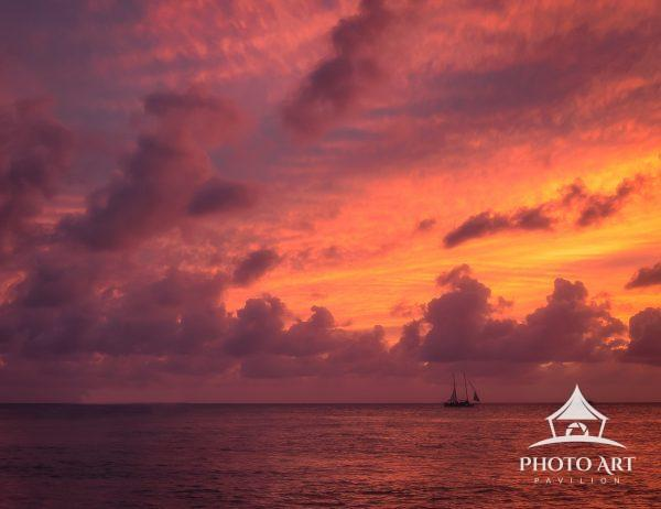 A colorful sunset after a hurricane clears the coast of Key West Florida